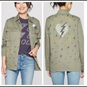 """Junk Food ROCK olive """"I'm with the band"""" coat NWT"""